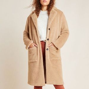 Anthropologie Colleen Faux Fur Teddy Long Jacket